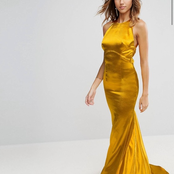 Dresses | Yellow Gold Gown Dress Maxi Formal Train Backless | Poshmark